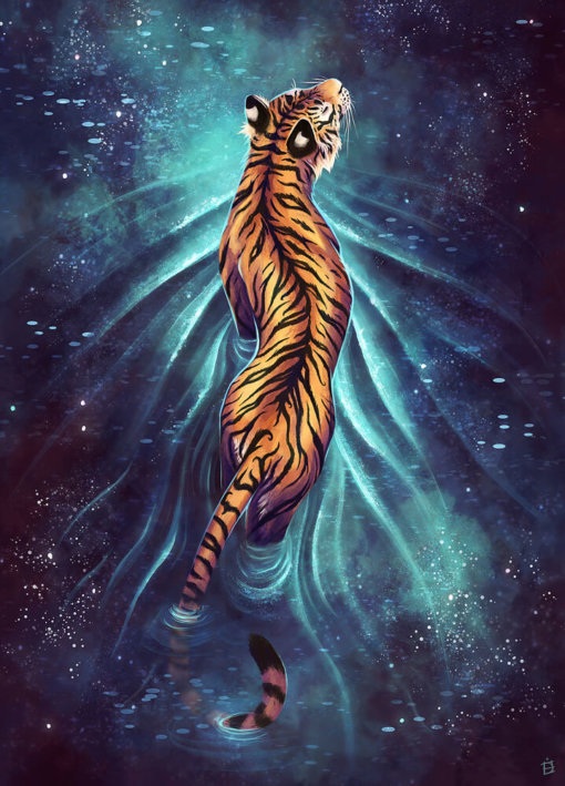 Digital illustration of a tiger walking through a pool of stars by Danielle English.